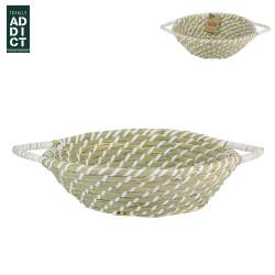Grossiste Corbeille tressée blanche avec 2 anses