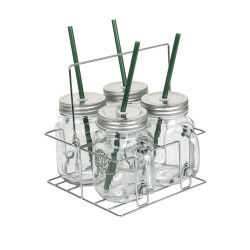 Grossiste Mason jar x 4 avec support rack métal