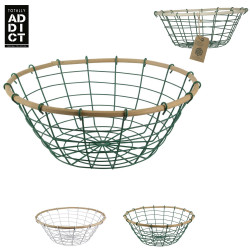 Bamboo and metal fruit basket