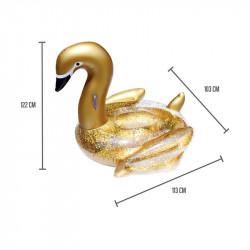 Grossiste. Matelas gonflable en forme de cygne à paillettes dorées