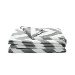 Grossiste Couverture câlin avec illustration zigzag 150x120cm grise