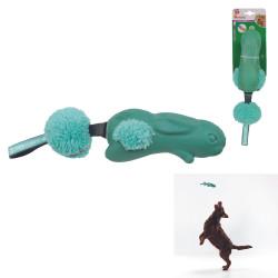 Grossiste Jouet en forme de lapin sonore avec pompon vert pour chien
