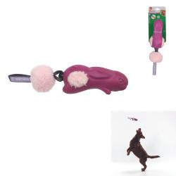 Grossiste Jouet en forme de lapin sonore avec pompon rose pour chien
