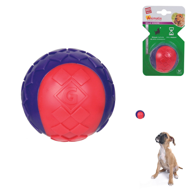 Grossiste Balle sonore rouge pour chien - taille M