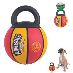 Grossiste Ballon de basket jaune et rouge avec poignée pour chien