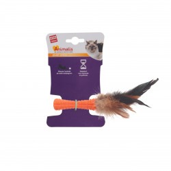 Grossiste jouet stick orange à plumes pour chat