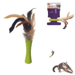 Grossiste jouet stick vert à plumes pour chat