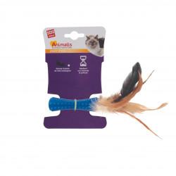 Grossiste jouet stick bleu à plumes pour chat
