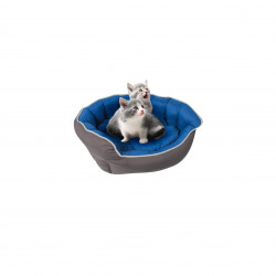 Grossiste corbeille rembourrée capitonnée bleue - 59x53cm