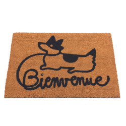 "Grossiste paillasson coco illustration chien ""Bienvenue"""