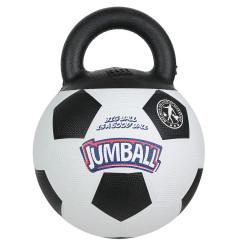 Grossiste Ballon de foot blanc et noir avec poignée pour chien