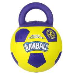 Grossiste Ballon de foot jaune et violet avec poignée pour chien