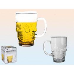 Verre à bière crâne