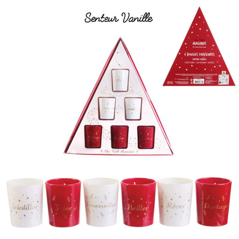 Grossiste coffret triangle de Noël avec bougie en verre x6