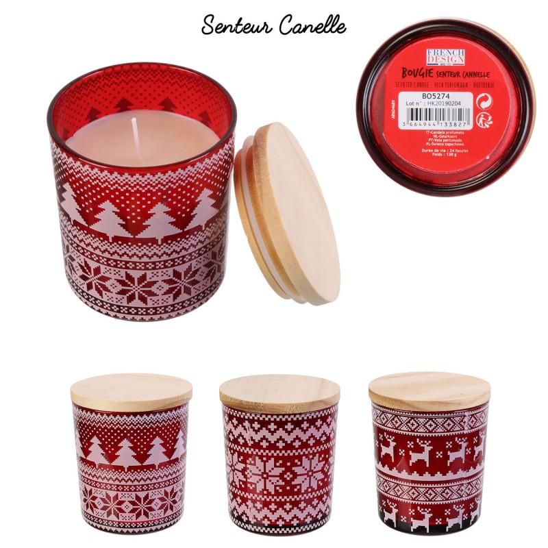 Grossiste bougie de Noël en verre senteur cannelle avec couvercle en bois