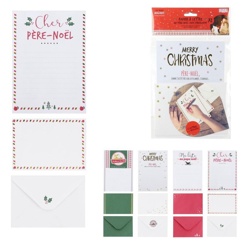 Grossiste papier à lettre au père Noël avec enveloppe x2