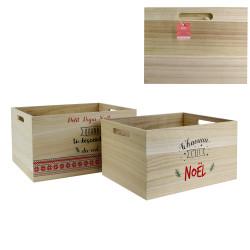Grossiste Caisse de rangement de Noël en bois x2