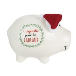 Grossiste Tirelire en forme de cochon Noël en céramique 11x9x7cm