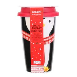Grossiste mug de transport pingouin double paroi spécial Noël de 325ml