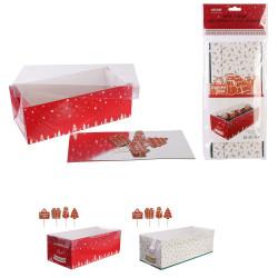 Grossiste boîte à bûche de Noël 26cm avec pic decoratif