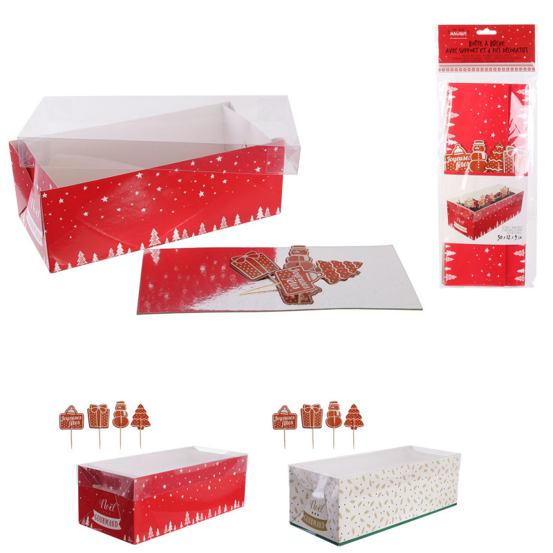 Grossiste boîte à bûche de Noël 30cm avec pics décoratifs