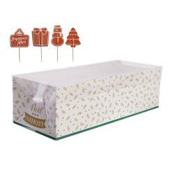Grossiste boîte à bûche de Noël 30cm blanche et verte avec pics décoratifs
