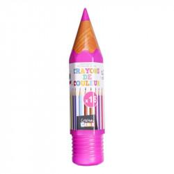 Grossiste et fournisseur. Boîte de 16 crayons de couleur en forme de crayon géant rose