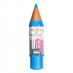 Grossiste et fournisseur. Boîte de 16 crayons de couleur en forme de crayon géant bleu