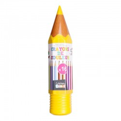 Grossiste et fournisseur. Boîte de 16 crayons de couleur en forme de crayon géant jaune