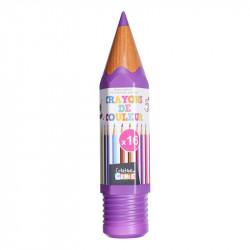 Grossiste et fournisseur. Boîte de 16 crayons de couleur en forme de crayon géant violet