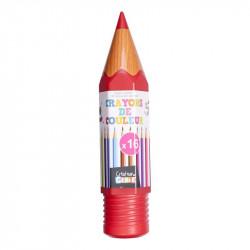 Grossiste et fournisseur. Boîte de 16 crayons de couleur en forme de crayon géant rouge