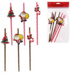 Grossiste paille réutilisable de Noël x6
