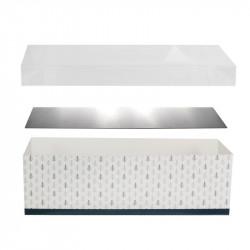 Grossiste boîte a bûche pic déco x4 avec support blanche et bleue