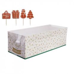 Grossiste boîte à bûche de Noël 26cm avec pic décoratif blanche et verte