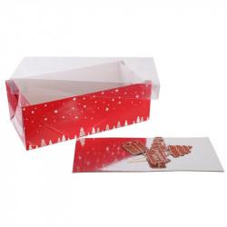 Grossiste boîte à bûche de Noël 26cm avec pic décoratif rouge