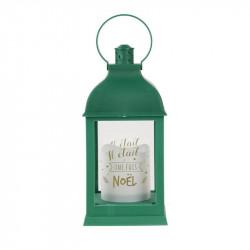 Grossiste lanterne à bougie LED verte de Noël 24cm