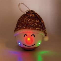 Grossiste décoration LED à suspendre bonhomme Noël 120mm rouge