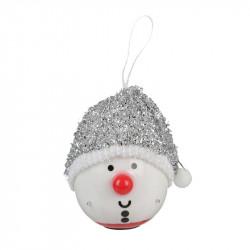 Grossiste décoration LED à suspendre bonhomme Noël 120mm argentée