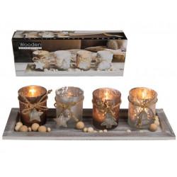 Grossiste plateau décoratif bois et perle avec 4 bougeoirs chauffe plat