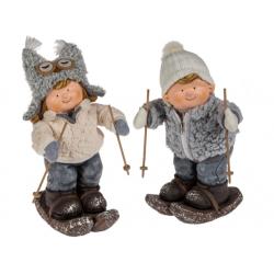 Grossiste figurine enfant qui font du ski avec bonnet en toile gris